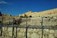 Al'Aqsa Mosque behind wall around old Jerusalem